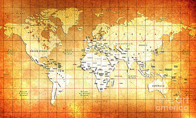 Geographic Painting - Vintage World Map  by Gull G