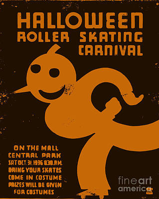 Halloween Pumpkin Painting - Vintage Wpa Halloween Roller Skating Carnival Poster by Edward Fielding