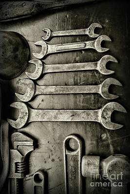 Photograph - Vintage Wrenches In Black And White by Paul Ward