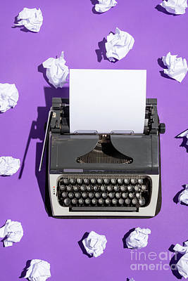 Photograph - Vintage Writing Machine With A Blank Sheet Of Paper by Michal Bednarek