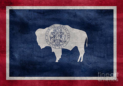 Old Glory Photograph - Vintage Wyoming Flag by Jon Neidert