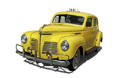 Vintage Yellow Cab Art Print by Edwin Verin