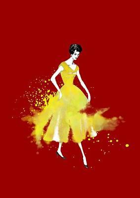 Vintage Yellow Dress Art Print by Diana Van