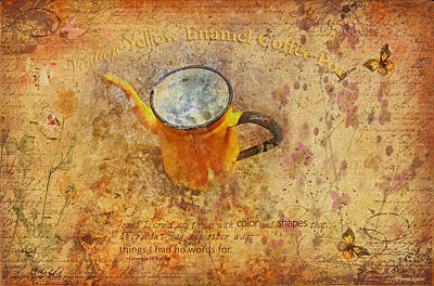 Photograph - Vintage Yellow Enamel Coffee Pot by Anna Louise