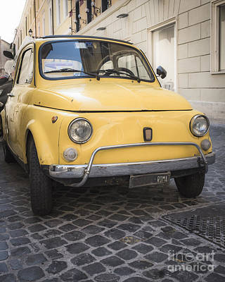 Vintage Yellow Fiat 500 In Rome Art Print by Edward Fielding