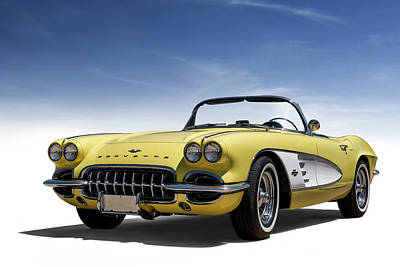 Digital Art - Vintage Yellow 'vette by Douglas Pittman