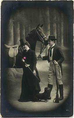 Vintage Young Woman And Man With Gun Art Print by Gillham Studios
