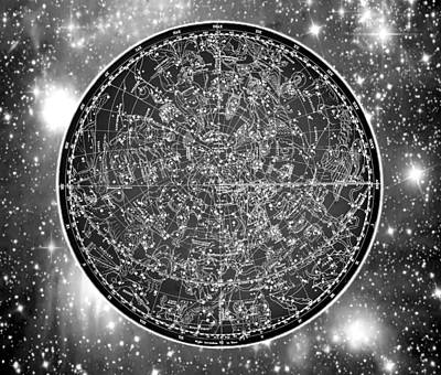 Digital Art - Vintage Zodiac Map - Black And White by Marianna Mills