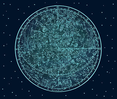 Fantasy Digital Art - Vintage Zodiac Map - Teal Blue by Marianna Mills