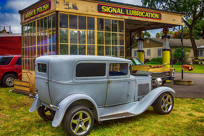 Vintiage Car At Old Gas Station Art Print
