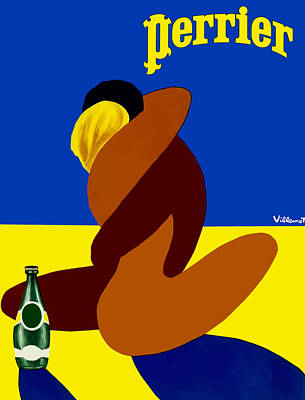 Digital Art - vintsge poster Perrier by Tom Prendergast