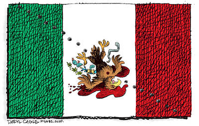 Drawing - Violence In Mexico by Daryl Cagle