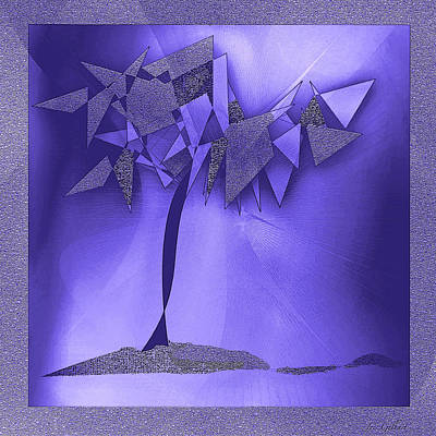 Digital Art - Violet Abstract Tree by Iris Gelbart