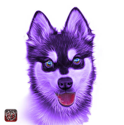 Painting - Violet Alaskan Klee Kai - 6029 -wb by James Ahn