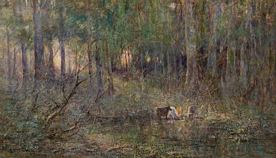 Australian Landscape Painting - Violet And Gold by Frederick McCubbin