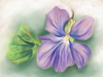 Pastel - Violet And Leaf by MM Anderson