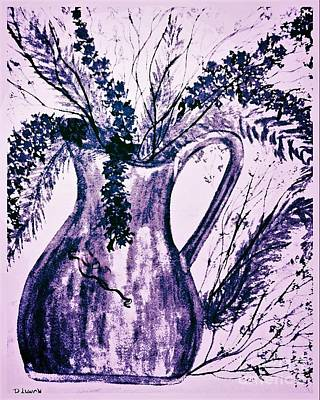 Dried Drawing - Violet And Silver Pitcher With Flowers by Debra Lynch