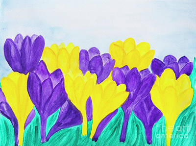 Painting - Violet And Yellow Crocuses by Irina Afonskaya