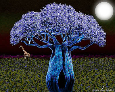 Digital Art - Violet Blue Baobab by Iowan Stone-Flowers
