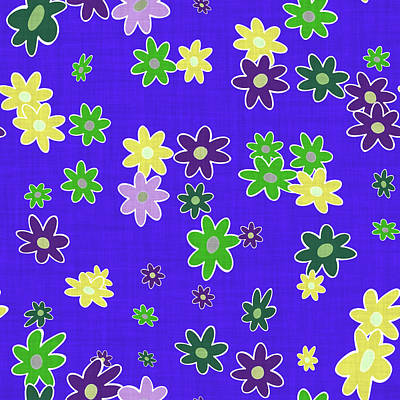 Digital Art - Violet Blue Floral Cloth Modern Decor Design by Georgiana Romanovna