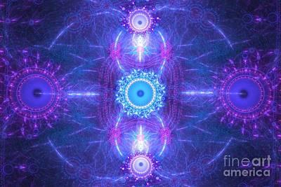 Digital Art - Violet Blue Satellites by Kim Sy Ok