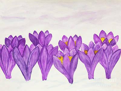 Painting - Violet Crocuses In Snow by Irina Afonskaya