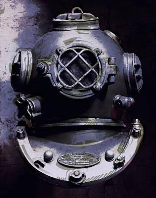 Diving Helmet Mixed Media - Violet Dark Depths by Daniel Hagerman