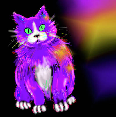 Art Print featuring the painting Violet Dizzycat by DC Langer