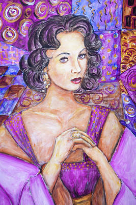 Painting - Violet Eyes - Liz Taylor by Nik Helbig