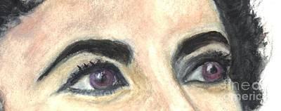 Elizabeth Taylor Drawing - Violet  Eyes by Carol Wisniewski