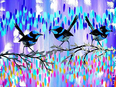 Big 3 Painting - Violet Fairy Wren Glen by Cathy Jacobs