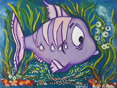Painting - Violet Fish by Rita Fetisov