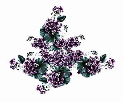Digital Art - Violet Geraniums On White by Georgiana Romanovna