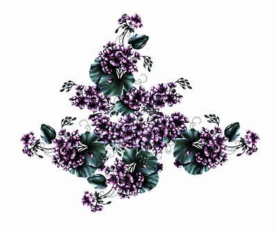 Digital Art - Violet Geraniums On White by Georgiana Romanovna