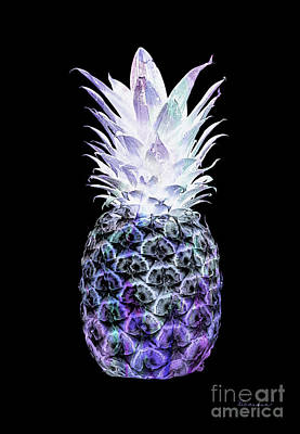 Photograph - 14i Artistic Glowing Pineapple Digital Art Violet And Green by Ricardos Creations