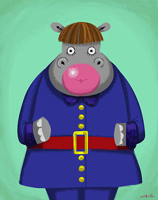 Digital Art - Violet Hippo by Brian White