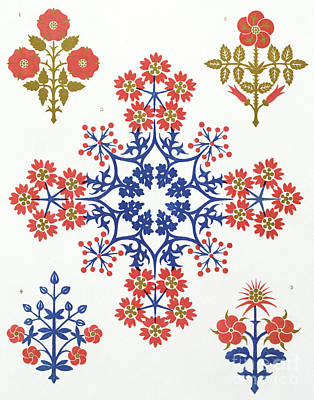 Flower Design Drawing - Violet, Iris And Tulip Motif Wallpaper Design by Augustus Welby Northmore Pugin