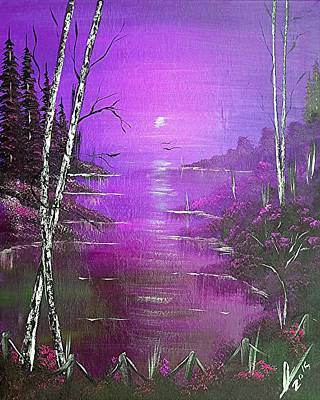 Jamaican Painting - Violet Jamaica Sunrise  by Collin A Clarke