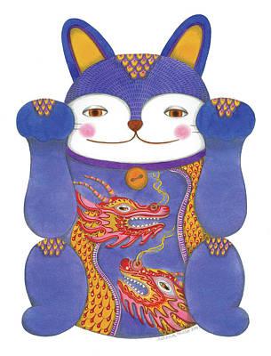 Drawing - Violet Maneki-neko by Helena Melo