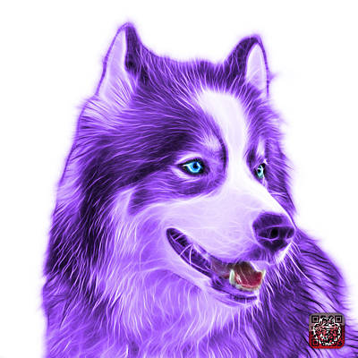 Painting - Violet Modern Siberian Husky Dog Art - 6024 - Wb by James Ahn