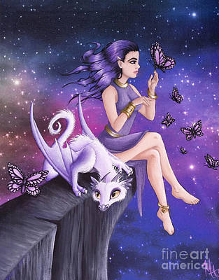 Painting - Violet Night Fantasy by Mary Hoy