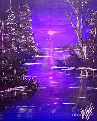 Jamaican Painting - Violet Nightfall by Collin A Clarke