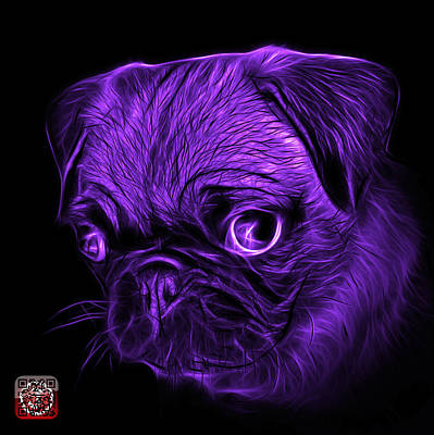 Digital Art - Violet Pug -  9567 Fs B by James Ahn