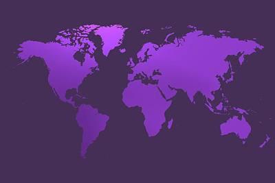 Global Digital Art - Violet Worl Map by Alberto RuiZ