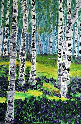 Painting - Violets Under Birches by Valerie Ornstein