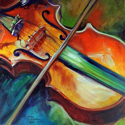 Earth Tones Painting - Violin Abstract 1818 by Marcia Baldwin