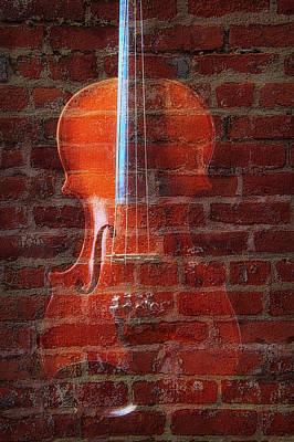 Photograph - Violin And Brick Wall by Garry Gay
