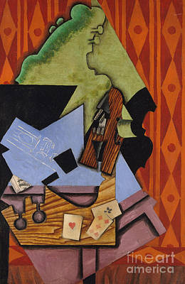 Violin And Playing Cards On A Table, 1913 Art Print