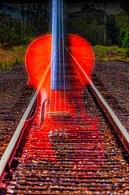 Fiddle Wall Art - Photograph - Violin And Rails by Garry Gay