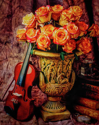 Fiddle Wall Art - Photograph - Violin And Roses Still Life by Garry Gay